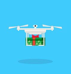drone delivery present new year merry christmas vector image