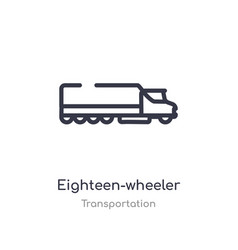 Eighteen-wheeler outline icon isolated line from vector