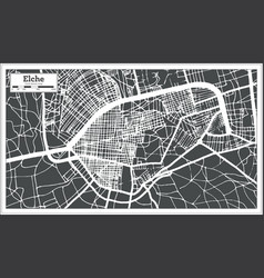 elche spain city map in retro style outline map vector image