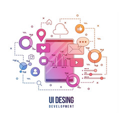 flat for ui-ux design web design vector image
