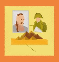 flat shading style icon history lesson pyramid vector image