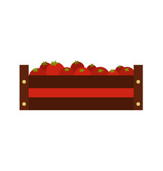 Fresh vegetables in a box icon flat style vector