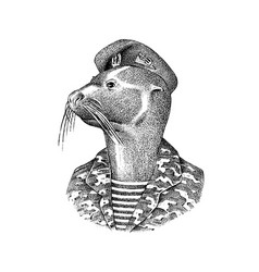 fur seal man in military uniforms marine mammal vector image