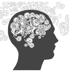 Gear head thinking man vector image