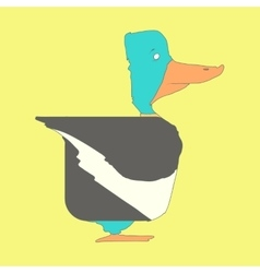 Hand drawn flat square icon Duck isolated on vector