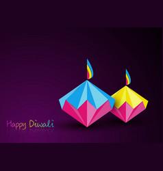 happy diwali celebration in origami style paper vector image