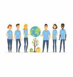 happy eco volunteers - cartoon people characters vector image