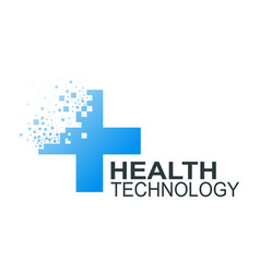 Health technology logo template vector