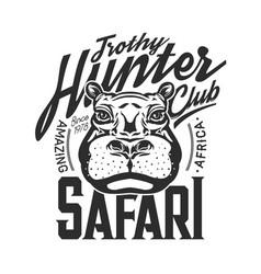 hippo t-shirt print hunting club mockup vector image