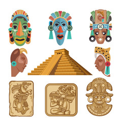 Historical symbols of mayan culture religion vector