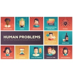 Human psychological problems- flat design icons vector