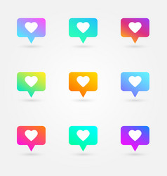 Like and heart icons set social network symbol vector