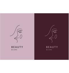 linear beauty cosmetics logo design vector image