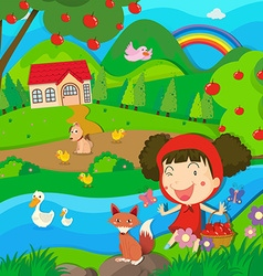 Little girl and wolf by the river vector