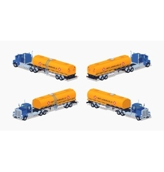 Low poly blue truck with the orange fuel tank vector image