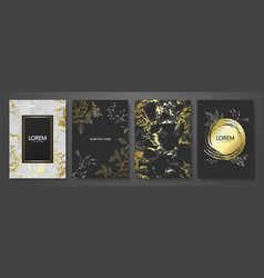 luxury cards collection with marble golden texture vector image