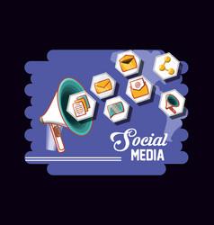 marketing social media megaphone icons vector image