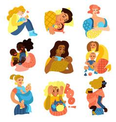 Motherhood icons set vector