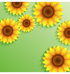 Nature summer green background with 3d sunflower vector