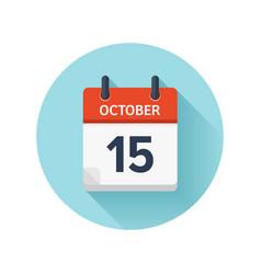 October 15 flat daily calendar icon date vector