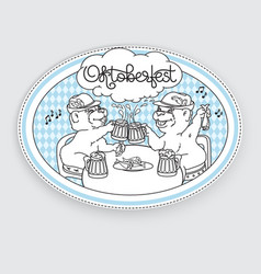oktoberfest card bears in friendly conversation vector image