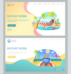 people working with laptop on beach summer vector image