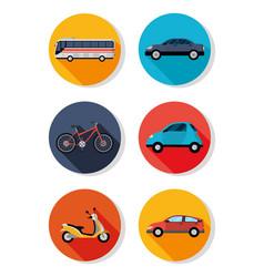 public transport vehicles icon vector image