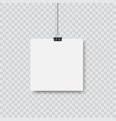realistic black blank frame hanging vector image