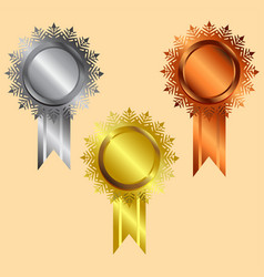 reward icon gold silver bronze silver vector image