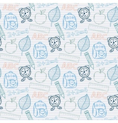 School pattern on the notebook sheet in line vector image vector image