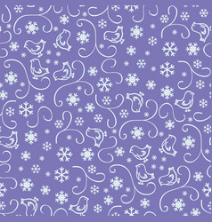 seamless pattern with snowflakes on purple vector image