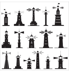 Set Icons of Lighthouses vector