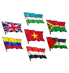 Set national flags vector