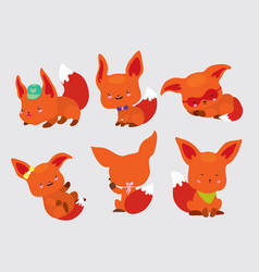 Set of cute little foxes in movement and in vector