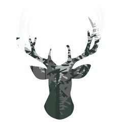 silhouette of a deer with pine forest vector image