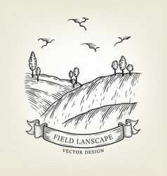 Sketch field landscape with hills and trees vector