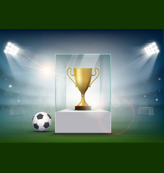 Soccer ball with the golden cup of championship vector