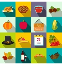 Thanksgiving day flat icons vector