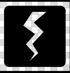 thunder crack rounded square vector image