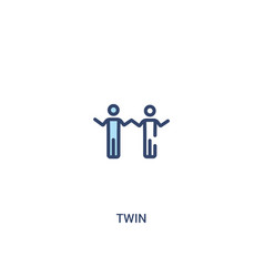 Twin concept 2 colored icon simple line element vector