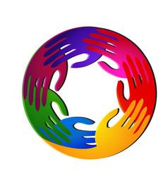 United hands group team logo vector