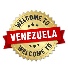 Venezuela 3d gold badge with red ribbon vector