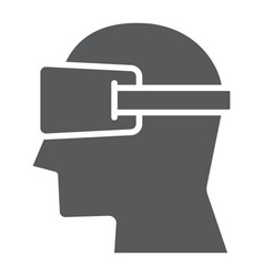 Virtual reality glasses glyph icon electronic vector