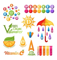 Vitamins icons for design vector image