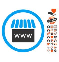 Webstore icon with love bonus vector