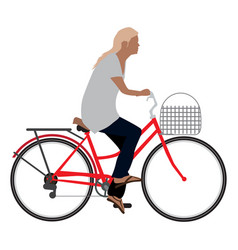 Woman riding a clasical bicycle vector