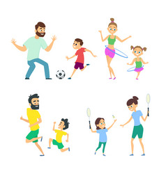 mother and father playing in active games with vector image