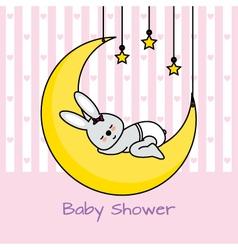 rabbit sleeping on the moon vector image vector image