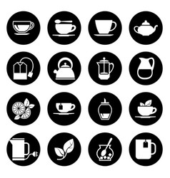 tea icons set in black and white vector image