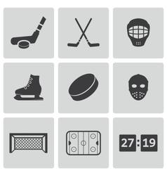 black hockey icons set vector image